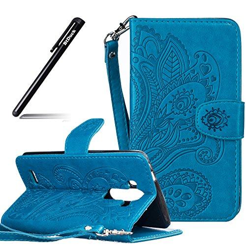 BtDuck LG G4 Hülle Leder Case, Brieftasche Flip Cover PU Leder Schutzhülle LG G4 Folio Tasche Portemonnaie Geldbörse Cases Handycover Handytaschen Credit Card Holder Slots Handyhülle (Blau)
