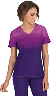 KOI Lite Women's Reform Ombre V-Neck Scrub Top- Mulberry/Grape- Small