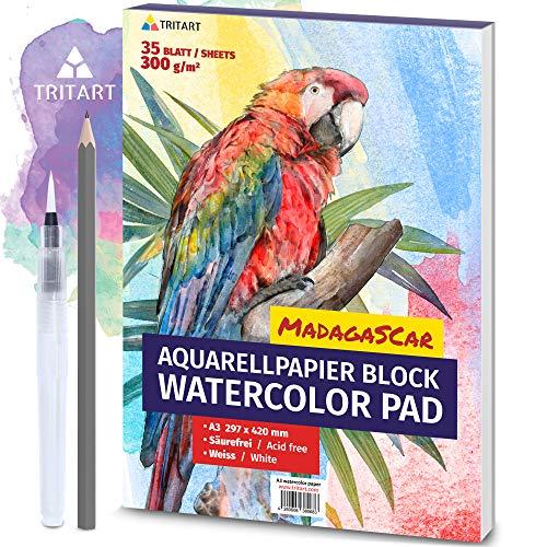 Tritart HOCHWERTIGES Aquarellpapier A3 | 300g | Weiß | 35 Blatt | A3 Aquarellblock inkl. Water Brush und Bleistift | XXL