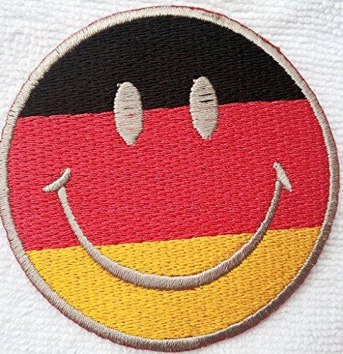 Smiley Deutschland Aufnäher Aufbügler Bügelbilder Sticker Applikation Iron on Patches für Jacken Jeans Stoff Kleidung Kleider Flaggen Fahnen zum aufbügeln