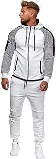 Men's Tracksuit Set Hooded Sweatshirt Jogger Sweatpants Colorblock Camouflage Patchwork Warm Sports Suit Zipper Hoodie