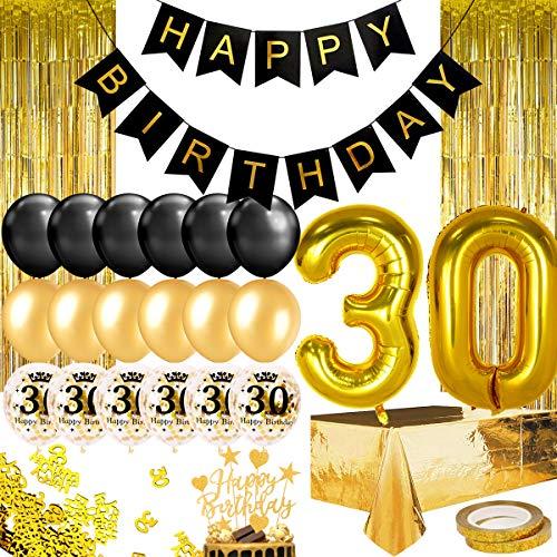 Humairc gold schwarz Geburtstagsdeko 18th Geburtstag Ballon Happy Birthday Girlande Torten Topper Tischdecke Schärpe Konfetti Party Deko (Schwarz Gold 30)