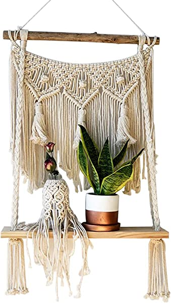 Trycooling Handmade Boho Wood And Cotton Rope Macrame Wall Hanging Shelf Single Tier Floating Hanging Shelf Organizer Home Decor