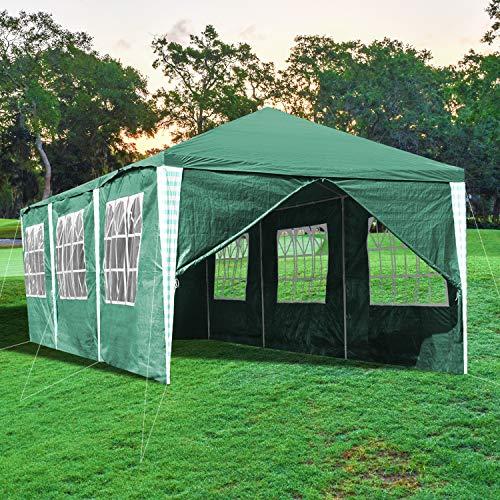 wolketon Gazebo 3x9 m Carpas Impermeables con 8 Paredes Pergola Cenador Protección UV 50+, Camping Cenadores para Jardin, Fiestas, Playa, terraza, Verde