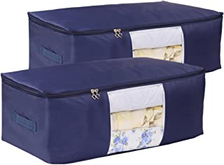 VEAMOR Comforter Storage Bags Pack of 2,(14 Colors to Choose) Pillow Beddings/Blanket Clothes Organizer Storage Containers with Zippers,Breathable and Moistureproof. (Navy Blue 2pcs, XXL)