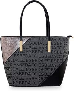 ESBEDA Black Color Logo Printed Basket Handbag For Women