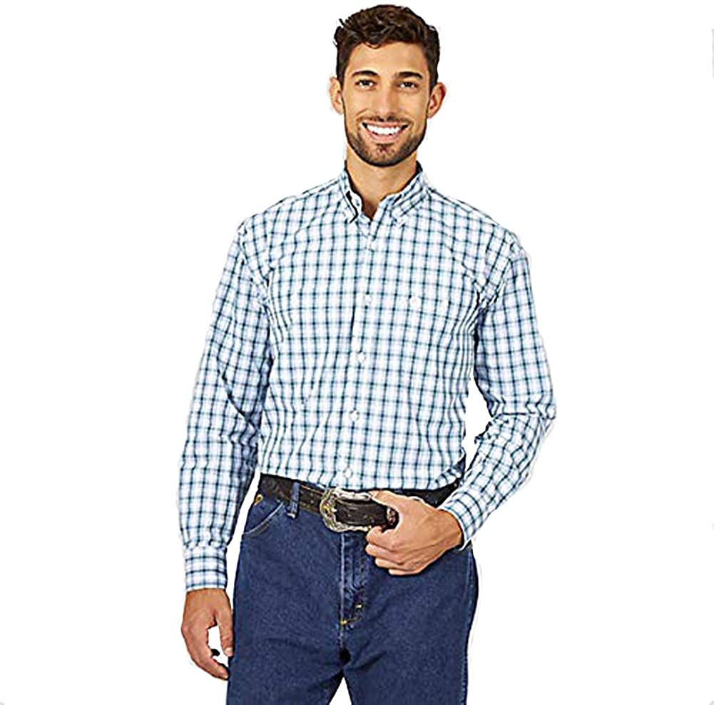 Wrangler Very popular George Strait Long Spring new work Sleeve Everg Button Two-Pocket Plaid