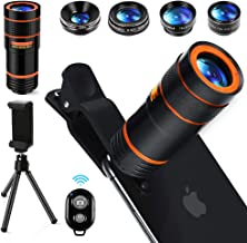 10 in 1 Phone Lens Kit, RAGU 12X Zoom Telephoto Lens, 25X Macro Lens, 0.62X Wide Angle Lens, 235° Fisheye Lens +Phone Holder +Tripod + Bluetooth Remote Shutter for iPhone, Android Phone, Samsung