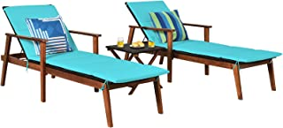 Tangkula Patio Chaise Lounge Sets, Outdoor Acacia Wood Chaise Lounger Chair w/ 4 Adjustable Back Position, Folding Table, ...