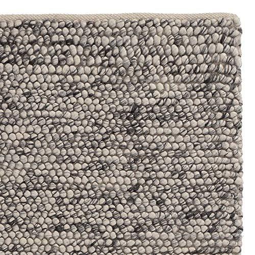 URBANARA Teppich Ravi - Eierschale Grau 140 x 200 cm 60% Schurwolle 20% Viskose 20% Baumwolle Wohnzimmer Teppich Handgewebter Wollteppich Mit Mellierung Und Moderner Grober Struktur