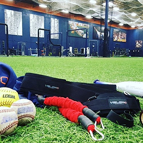 VeloPRO Baseball and Softball Movement Enhancement Training System Including Belt/Harness, Foot/Ankle Strap, 2 Bungee Cords. Enhance Hitting, Pitching, Throwing