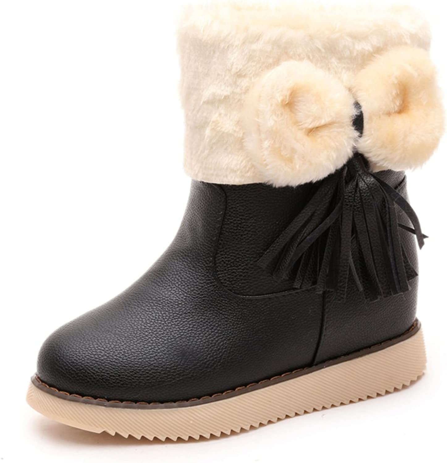 Short boots winter women boots Flat round head snow boots bow shoes high heel strap