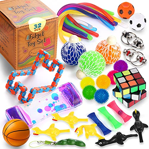 Sensory Toys Set 32 Pcs., Fidget Toy Bundle for Stress Relief, Anti-Anxiety, Relaxing, and Calming for Kids and Adults, Sensory Fidgets Hand Therapy Pack for Boys and Girls with Autism, ADD, and ADHD