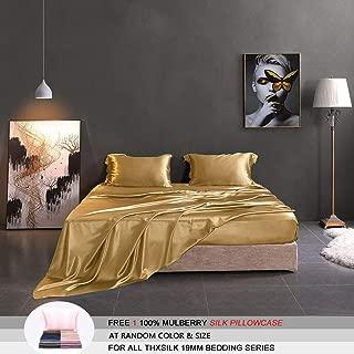 THXSILK Silk Sheet Set 4 Pcs, 19 Momme Silk Bed Sheets, Luxury Bedding Sets -Ultra Soft, Durable-100% Top Grade Mulberry Silk, King Size, Metallic Gold