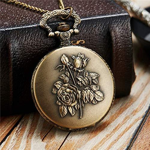 J-Love Hermoso Collar de Cadenas de Relojes de Bolsillo con Rosas, Relojes de Bolsillo de Cuarzo Grabados, Regalos Colgantes para Hombres, Mujeres y niños