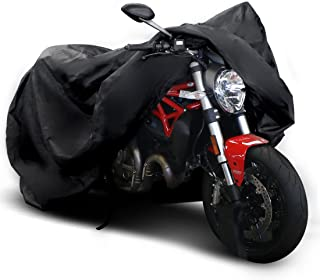 """Copap Black Motorcycle Cover 150D Durable Waterproof Motorcycle Cover All-Weather Protection with 7.87"""" Reflective Stripe, Bottom Buckle & Lockholes Included"""