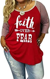 Women's Plus Size Faith Over Fear Funny Christian Shirt Long Sleeve Striped Patchwork Tops Tees