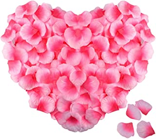 obmwang 2000 PCS Silk Rose Petals Artificial Flower Petals for Valentine's Day Wedding Flower Decoration. Pink and Rose Pink