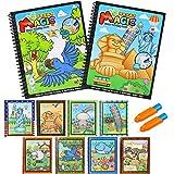 BBLIKE Juguete de Pintura mágica del Agua, 2 Reutilizable Libro de Dibujo de Agua para Colorear con 2 Pluma mágica bebé Juguetes educativos para niños Pintura Escritura Doodle paño Libro (A)
