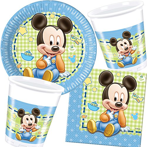 37-teiliges Party-Set * BABY MICKY MAUS * für Kindergeburtstag und Motto-Party // mit Teller + Becher + Servietten + Luftballons // Deko Dekoration Kinder Geburtstag Mickey Mouse