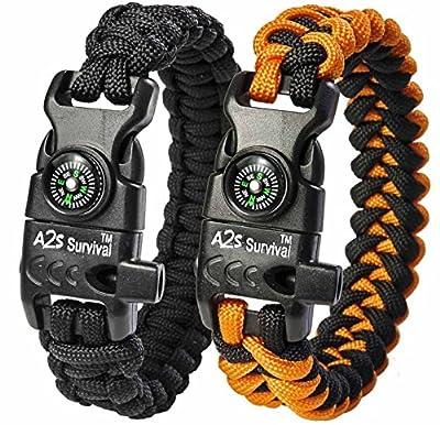 "A2S Protection Paracord Bracelet K2-Peak – Survival Gear Kit with Embedded Compass, Fire Starter, Emergency Knife & Whistle (Black/Orange 8.5"")"