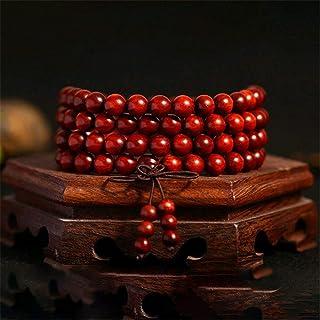 LEIGAGA 10 Pcs Natural Zambia Lobular Rosewood Hand-strings Blood Sandalwood Buddhist 108 Prayer Mala for Fashion Men Jewelry