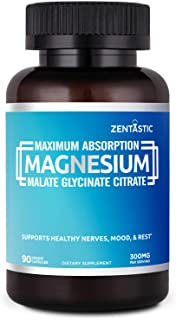 Zentastic Magnesium Glycinate, Malate, and Citrate - 300mg - Maximum Absorption Formula for Improved Sleep, Relaxation, Cramps, Anxiety Relief - Non-GMO, Gluten Free, 90 Veggie Capsules
