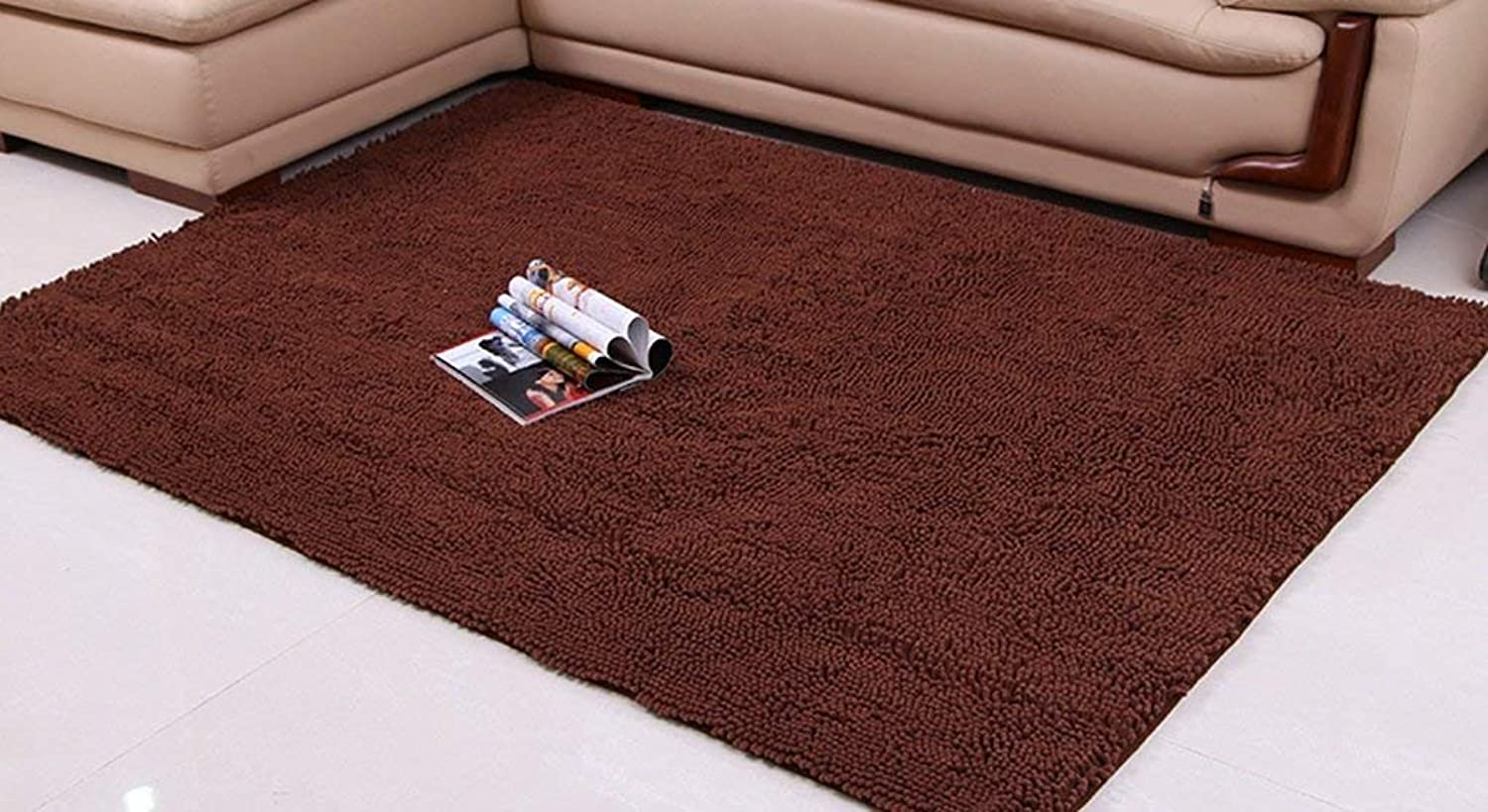 Chenille Rugs, Modern Thicker Living Room Bedroom Bay Window The Door Carpet Bathroom Water Absorption Non-Slip mat Soft and Comfortable (color    2, Size   70  140cm)