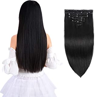 "14"" Remy Clip in Hair Extensions Human Hair Black for Women Beauty – Short.."