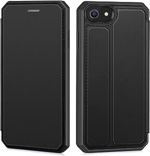 iPhone SE ケース [第2世代] iPhone8 ケース iPhone7ケース スマホケース 手帳型 汗や指紋防止 耐衝撃 着脱しやすい 放熱性 擦り傷防止 カード収納 スタンド機能 4.7インチ対応 (ブラック)