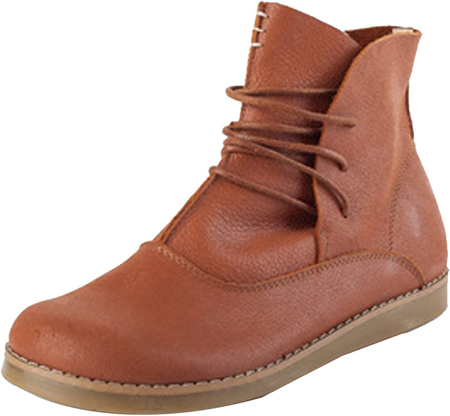 Zoulee Women's Round Toe Lace Up Letter Boots Ankle Boots