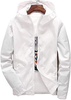 Men Fashion Hooded Jacket Lightweight Zipper Plus Size Jacket with Pockets