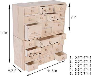 Vencer Set of 2 Wooden Countdown to Halloween Advent Calendar,Craft Storage Organizer with 24 Drawers,DIY Unfinished Wood,Apo