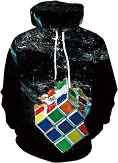 Bolayu Men's 3D Digital Rubik's Cube Hoodie Loose Casual Cool Lightweight Warm Winter Autumn 3D Print Hooded Sweatshirt