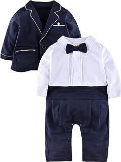 094e5e0542729 ZOEREA bébé garçon Vêtements Définit Bodys Combinaisons + Costume Manteau  Gentleman en Coton Blanc à Rayures