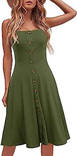 Berydress Women's Casual Beach Summer Dresses Solid Cotton Flattering A-Line Spaghetti Strap Button Down Midi Sundress