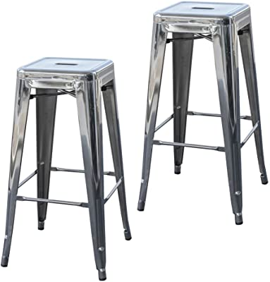 Buffalo Tools 30 in. Metal Barstool in Silver - Set of 2
