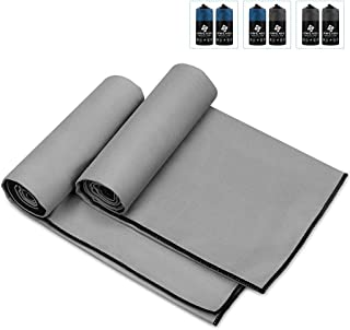 Awenia Camp Towel Quick Dry Microfiber Towel 2 Pack, Compact Travel Towel for Gym, Sports, Hiking, Backpacking, Swimming, with Carry Bag