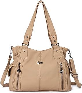 KL928 Tasche Damen Handtasche Umhängetaschen Damenhandtasche Schultertasche Lederhandtasche elegante Taschen hand taschen Henkeltaschen für frauen mit vielen fächern D Apricot
