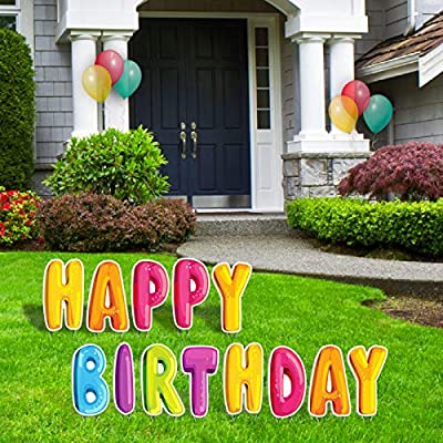 "Bigtime Signs Happy Birthday Yard Signs with Stakes - 15"" Colorful Lawn Letters - Balloon Bubble Style Decor for Backyard Celebration - Weatherproof Corrugated Plastic Outdoor Party Decorations"