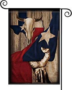 AVOIN Texas State Animal Skulls Hand Pull Garden Flag Vertical Double Sided Lone Star State, USA Flag Yard Outdoor Decoration 12.5 x 18 Inch