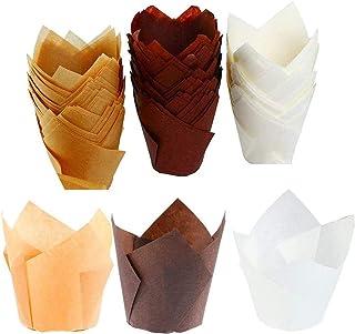 150 pièces Tasses de papier de cuisson de tulipe, Petits emballages de muffins à cupcakes, Caissettes à muffins pour maria...
