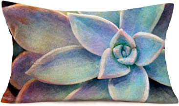 Hopyeer Succulent Throw Pillow Cover Decor Summer Tropical Plants Rectangle Lumbar Throw Pillow Case Cushion Cover for Sofa Couch Home Car Bedroom 12x20 Inch (SY Tropical)