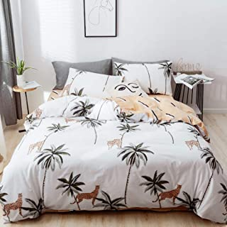 mixinni Tropical Duvet Cover Set, 3 Pieces Coconut Palm Tree Leopard Pattern Printed Bedding Set with 2 Pillowcases, Reversible Geometric Pattern on Blush, with Zipper Ties-Queen/Full Size