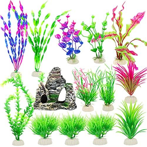 13 Plantas Artificiales Acuario 7-30cm + 1 Roca para Acuario Plantas Verdes Plástico Montaña Piedras para Acuario Decoración de Acuario Pecera