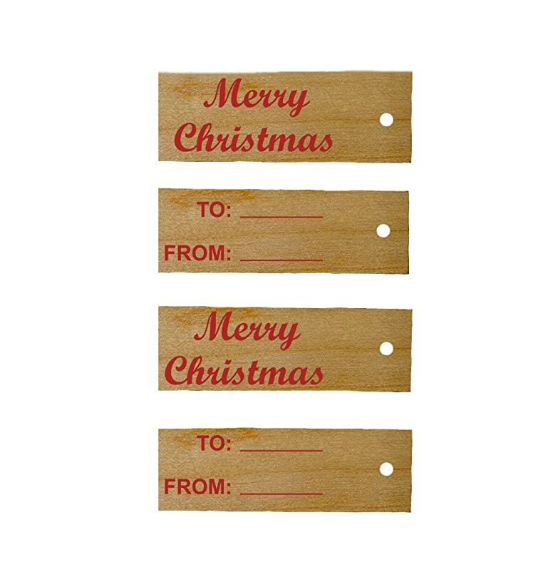 Perfect Stix Gift Tags Xmas-100ct Wooden Gift Tags with Xmas Themed Print (Pack of 100)