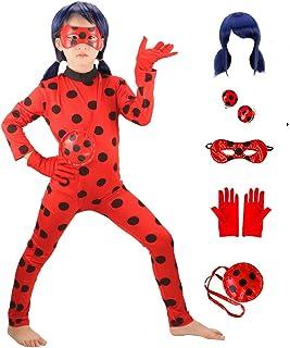 GREAHWD Ladybug Perruque Déguisement Fille Coccinelle Marinette Combinaison Masque Sac Bodysuit Perruque Cosplay Costume d...