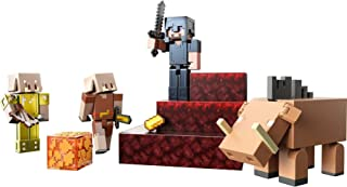 Minecraft Crimson Forest Conquest Story Pack Figures, Accessories and Papercraft Blocks, Complete Adventure Play in a Box,...