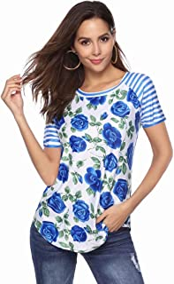 JINIU Women's T-Short Sleeve Floral Print Blouse Clothes Comfy Casual Tops for Ladies