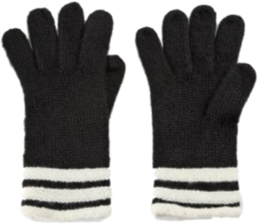 Fownes Womens Black and White Stripes Knit Fownes Gloves